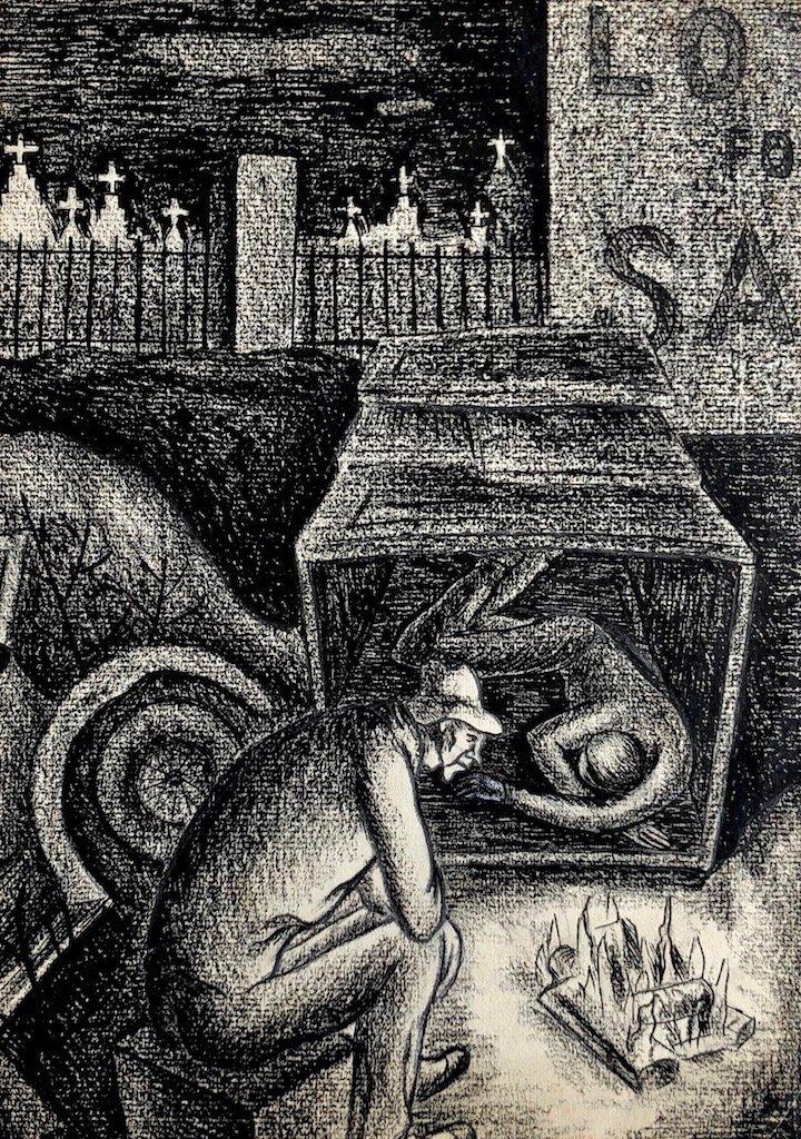 WPA Depression Era Original Charcoal Drawing