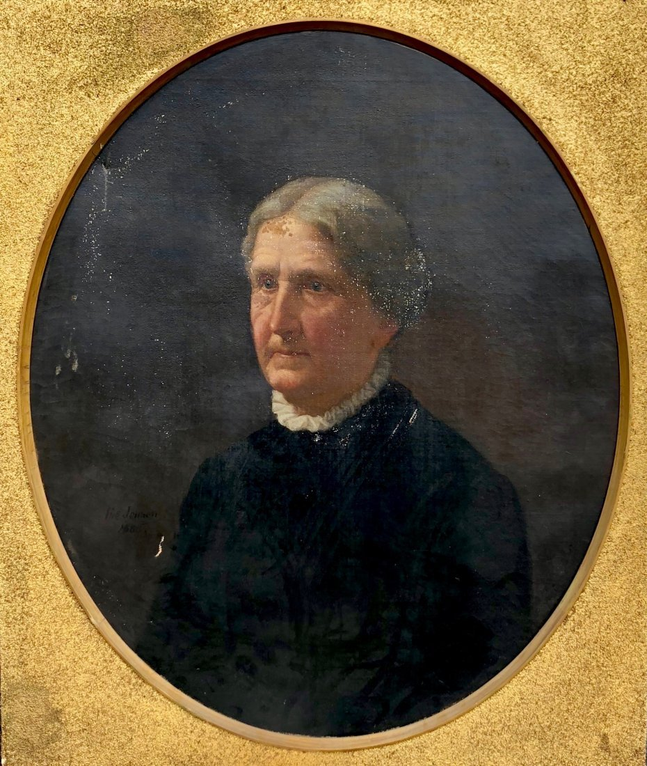 SIGNED 19th Century American Portrait Of A Woman 1885