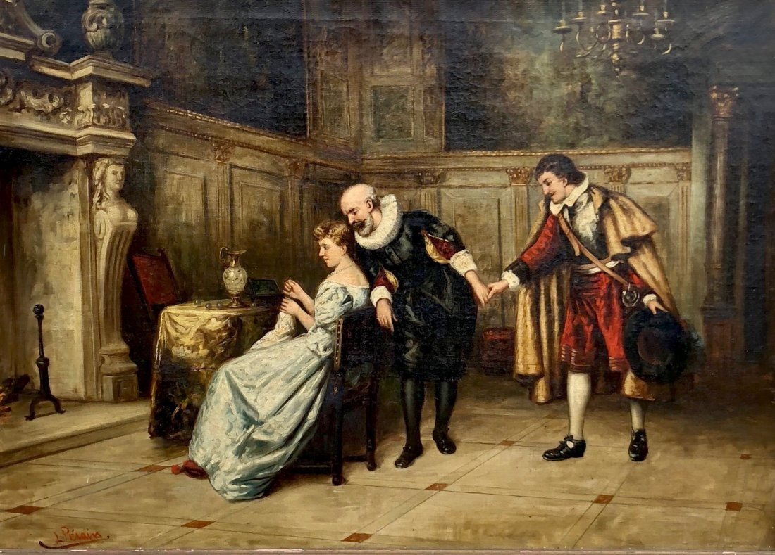 Illegibly Signed 19th Century French Courting Scene