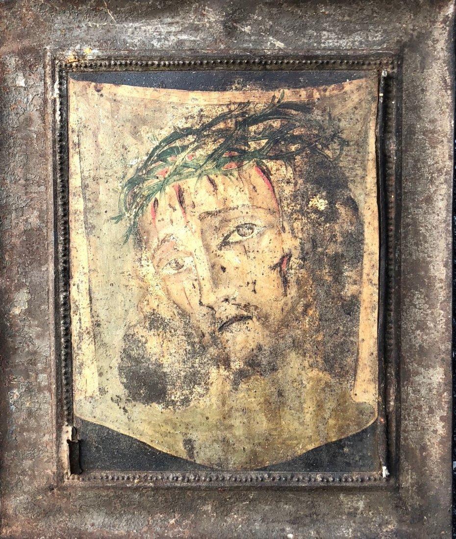 Mexican Retablo Portrait Of Jesus Christ