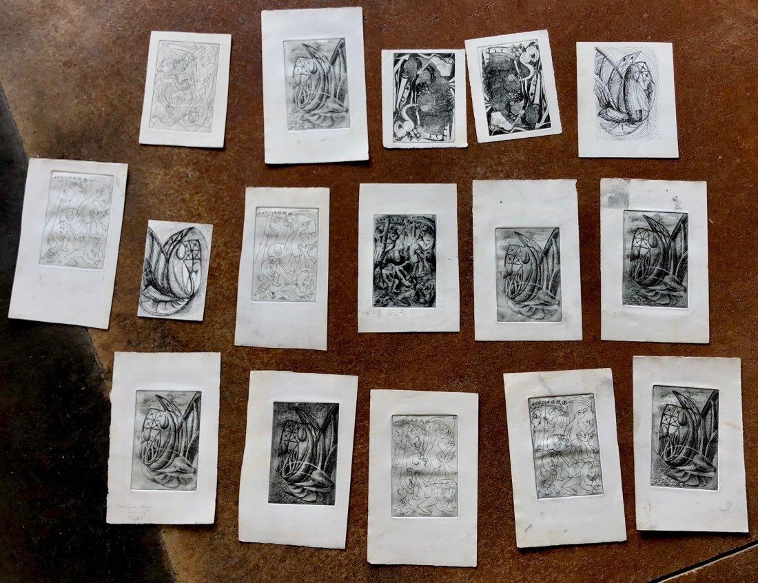 JAMES LANDGRAF (American, 20th C.) 16 Abstract Etchings