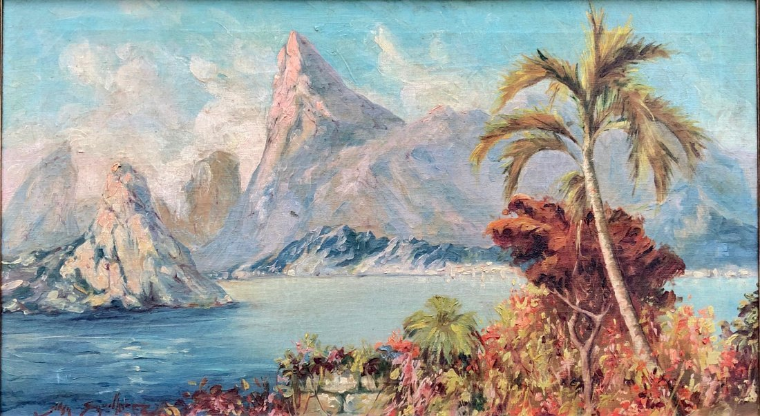 Illegibly Signed Tropical Landscape, Possibly Hawaii