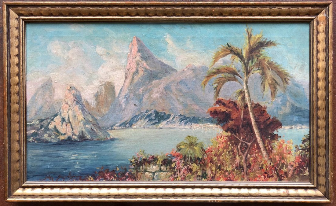 Illegibly Signed Tropical Landscape, Possibly Hawaii - 2