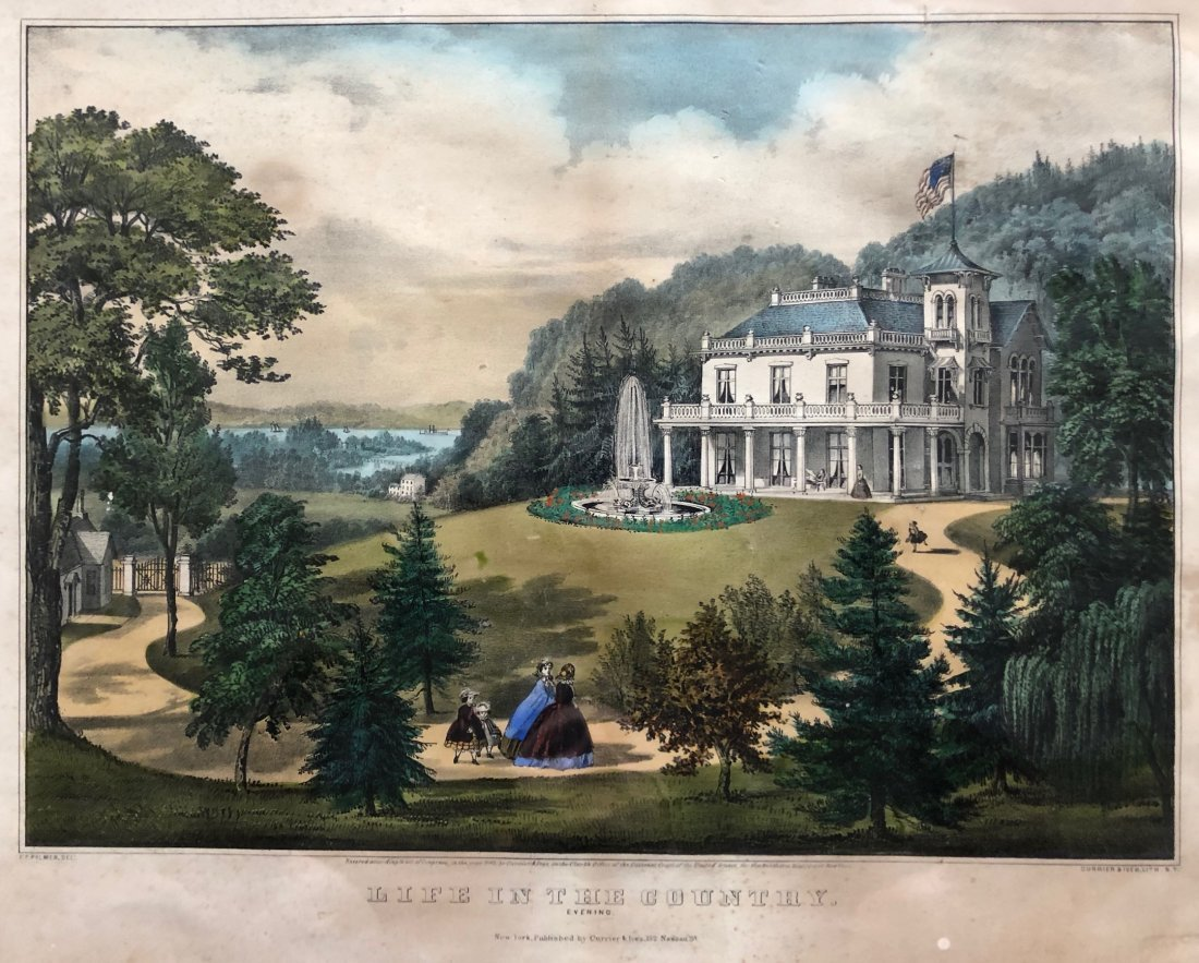 CURRIER & IVES, Life In The Country: Evening 1862