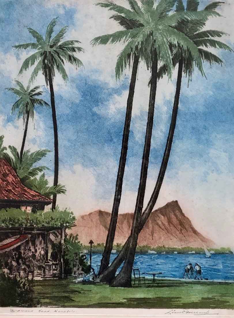 LEON PESCHERET (1892-1971) Diamond Head Honolulu Hawaii