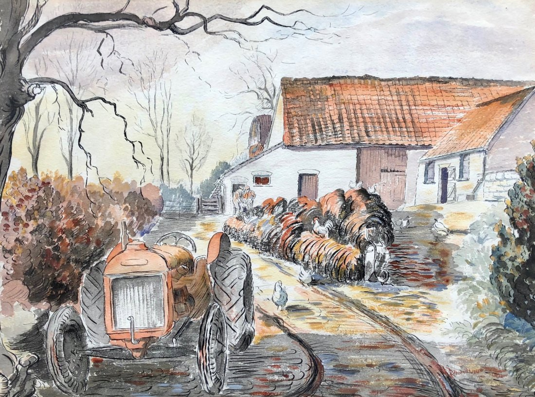 Irish Farm Scene Watercolor Illustration