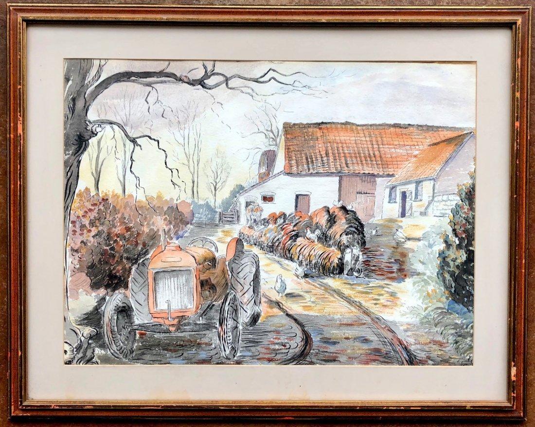 Irish Farm Scene Watercolor Illustration - 2