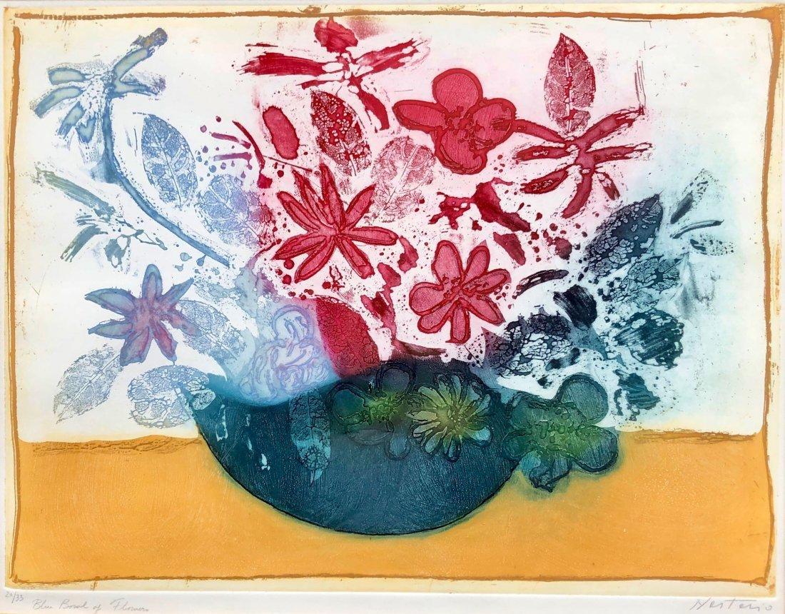 Alessandro Nastasio  (b.1933, Italy) Flower Aquatint