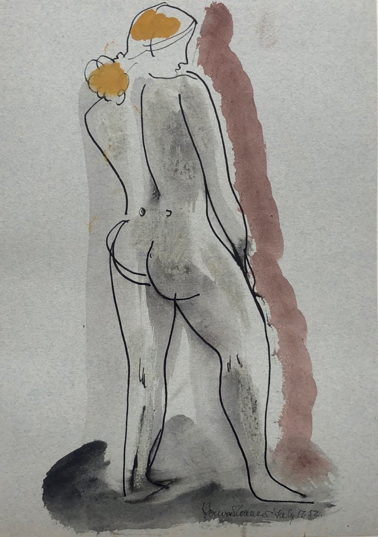 Illegibly Signed Mid-Century Modern Nude Watercolor