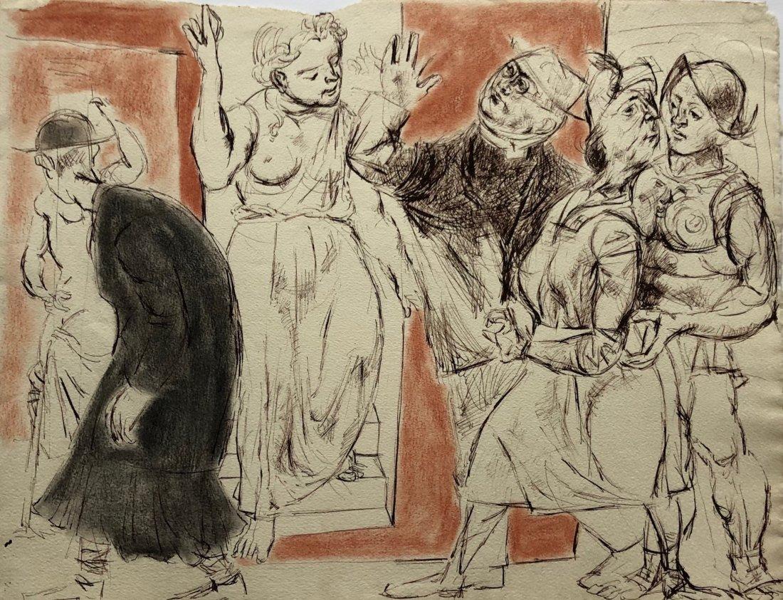 Mid-Century Modernist Ink & Watercolor Figural Scene
