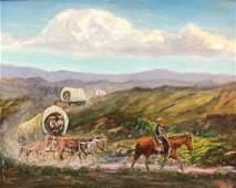 American Western Cowboy Scene Signed WT BROWN 1977