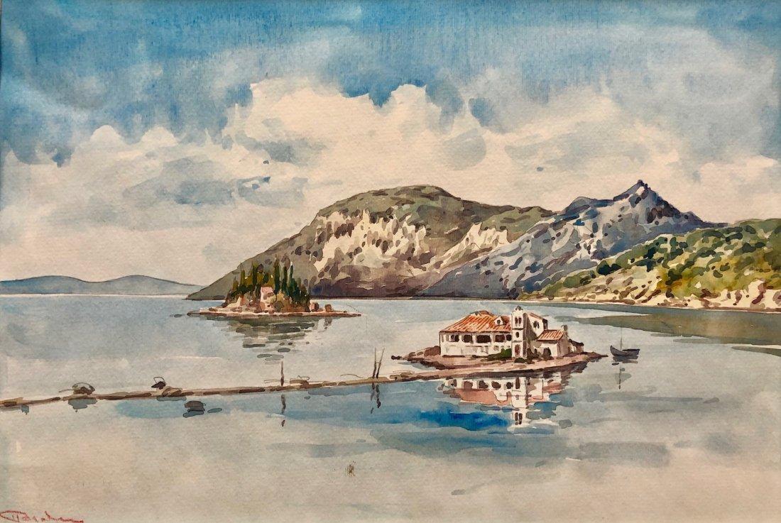 Illegibly Signed Watercolor Greek Island Scene