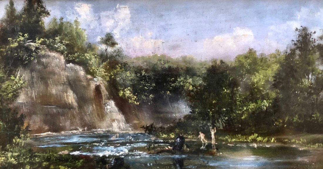 19th Century Impressionist Waterfall Landscape