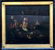 Old Master Oil On Wood Panel Flemish Peasant Scene