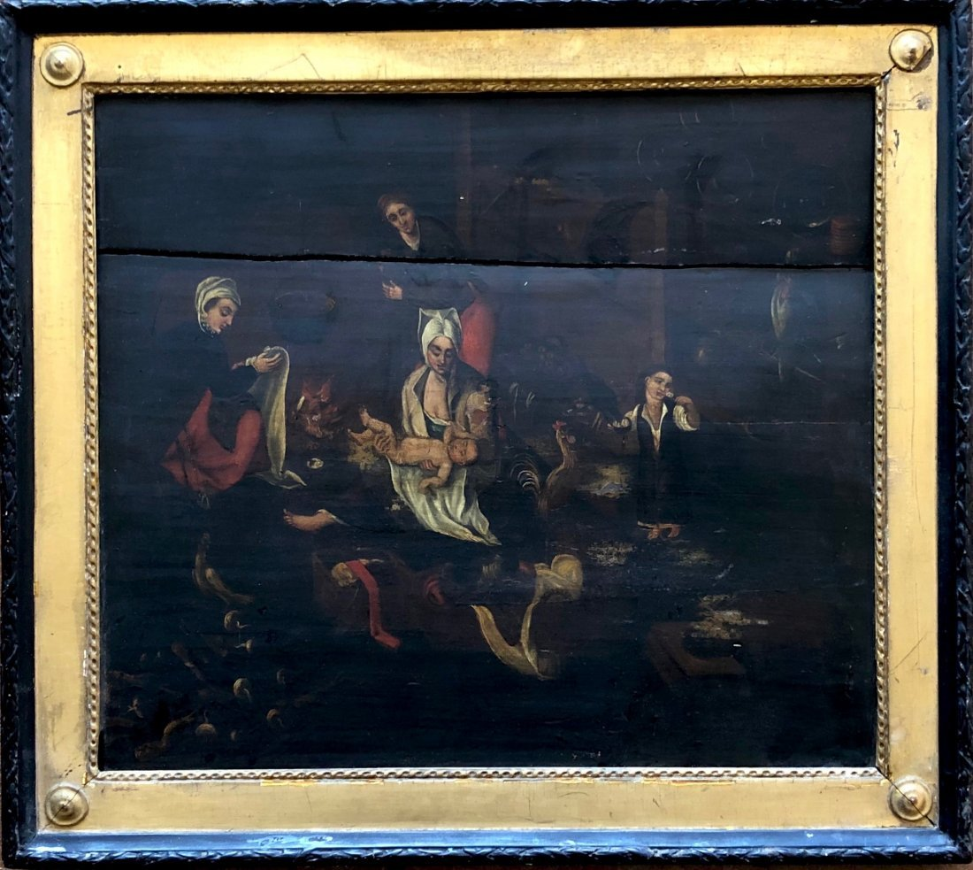 Old Master Oil On Wood Panel Flemish Peasant Scene