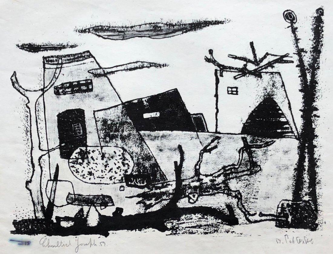 JOSEPH CHAALTIEL (1931-2016) Modernist Abstract 1959