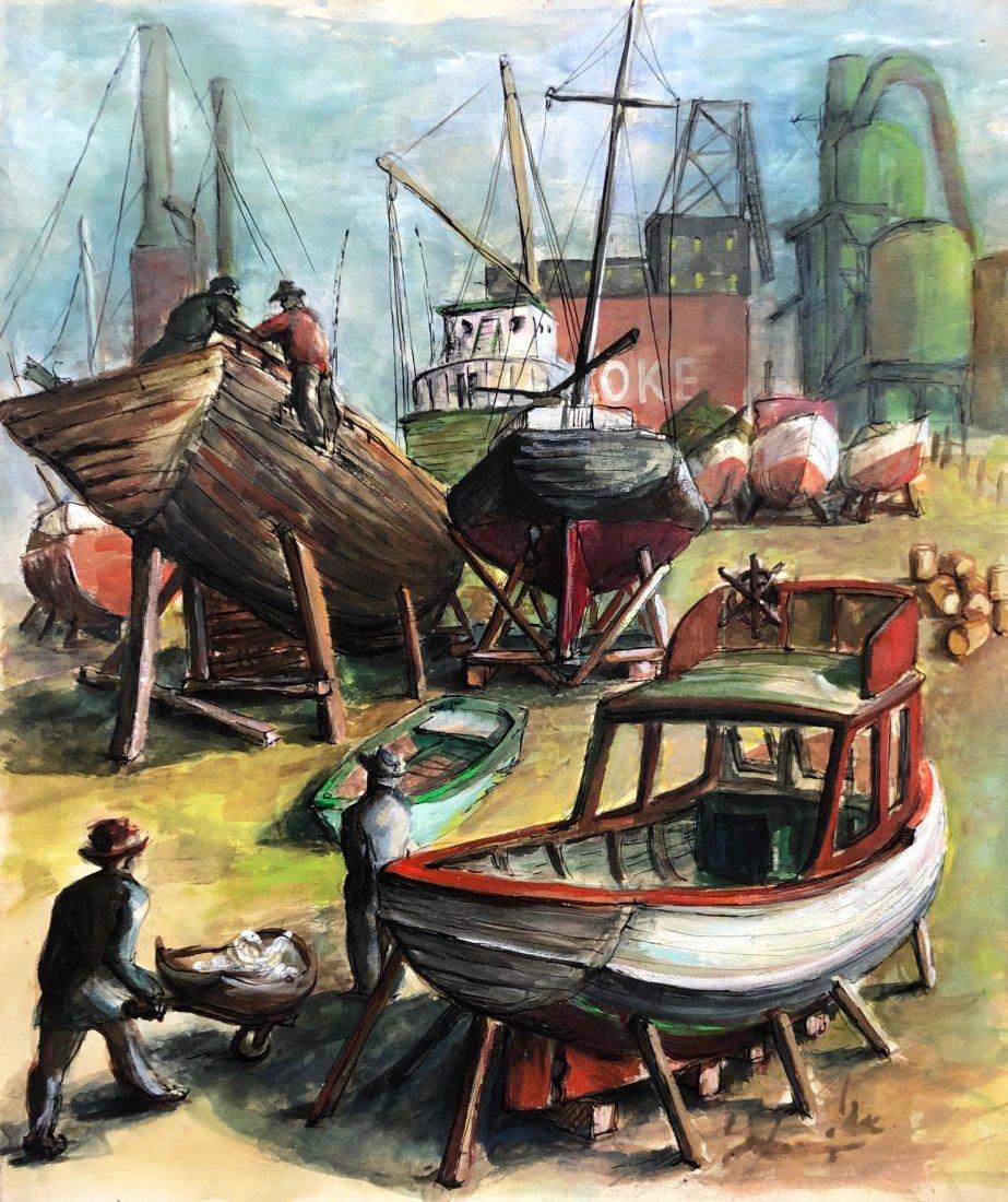 JAMES LANDGRAF (American, 20th C.) WPA Shipyard