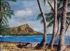 VIOLA SALLER (20th c, American) Diamond Head Hawaii