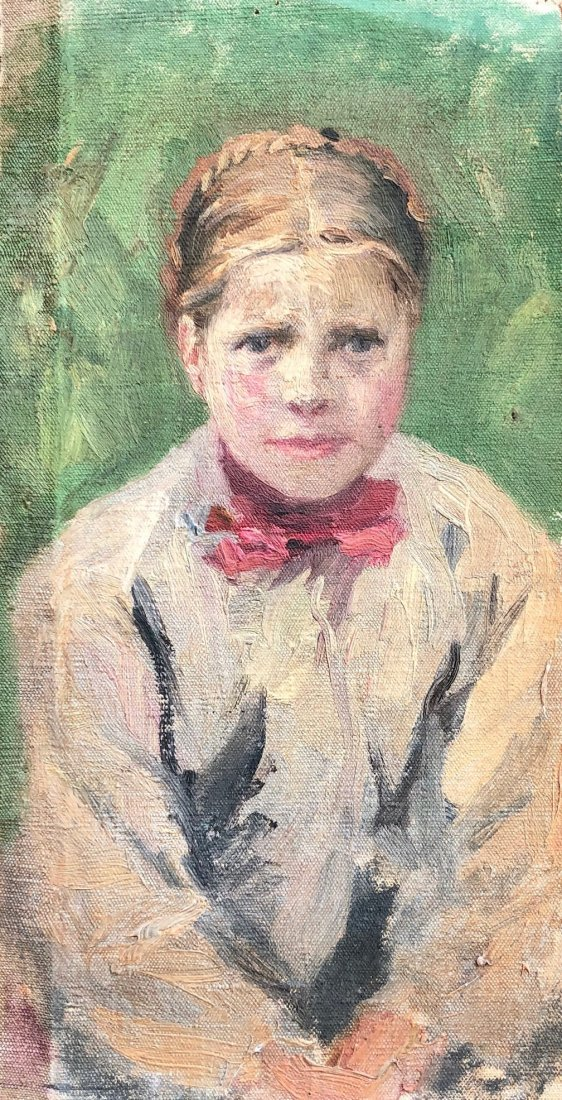 Impressionist Portrait Of A Young French Girl