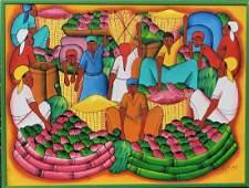 JEAN PIERRE (20th C, Haiti) Naive Village Scene