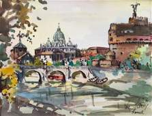 Impressionist Watercolor Of St Peters Basilica Rome