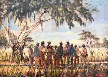 Black Americana Sharecroppers Southern Scene Signed