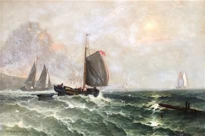 "WR Johnston ""Off Mount Saint Michael"" Marine Scene 1860"