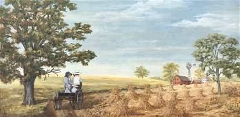 20th Century American Amish Family Farm Scene Signed