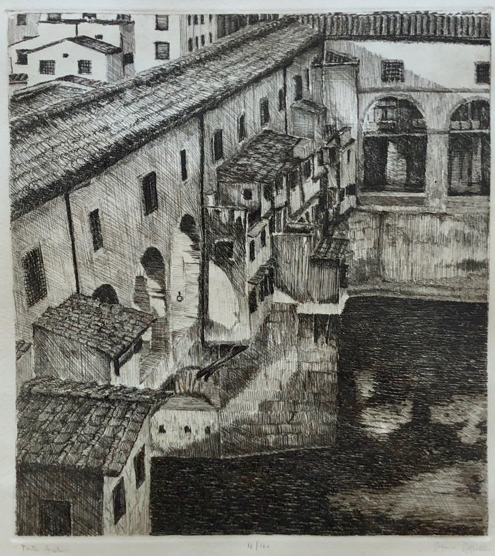 Etching Of Ponte Vecchio, Florence Italy Unknown Artist