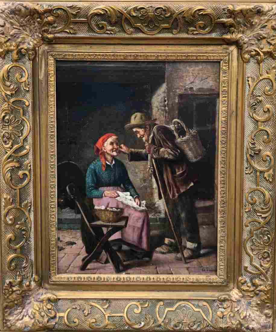 G. TARINI (19th Century, Italy) Elderly Couple Genre