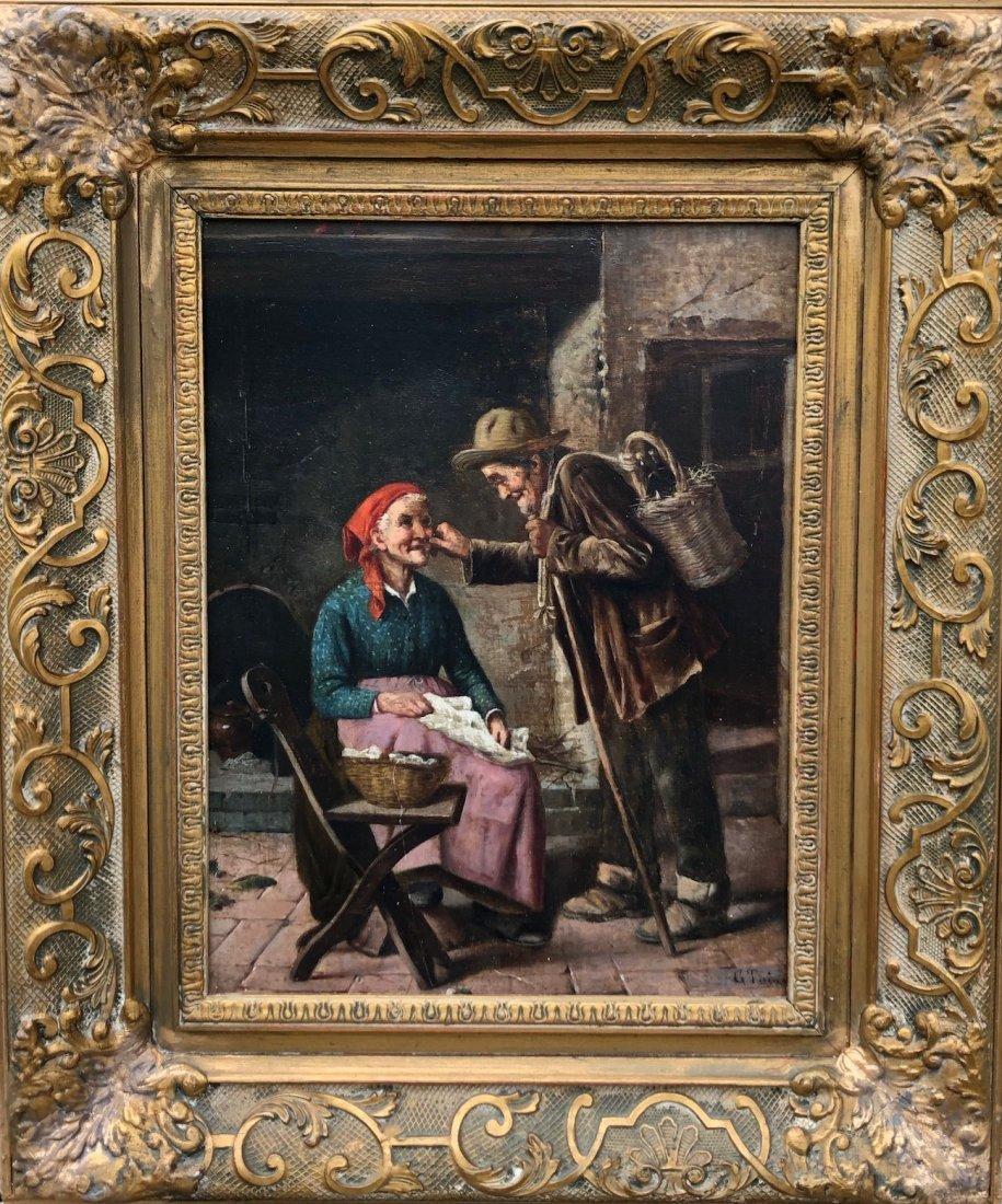G. TARINI (19th Century, Italy) Elderly Couple Genre