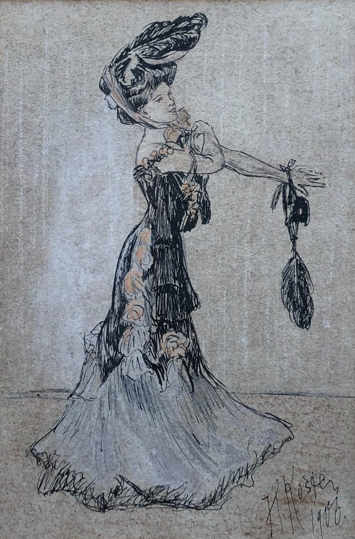 French Fashion Drawing Signed & Dated 1903