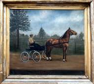 Antique American Horse Drawn Carriage Painting