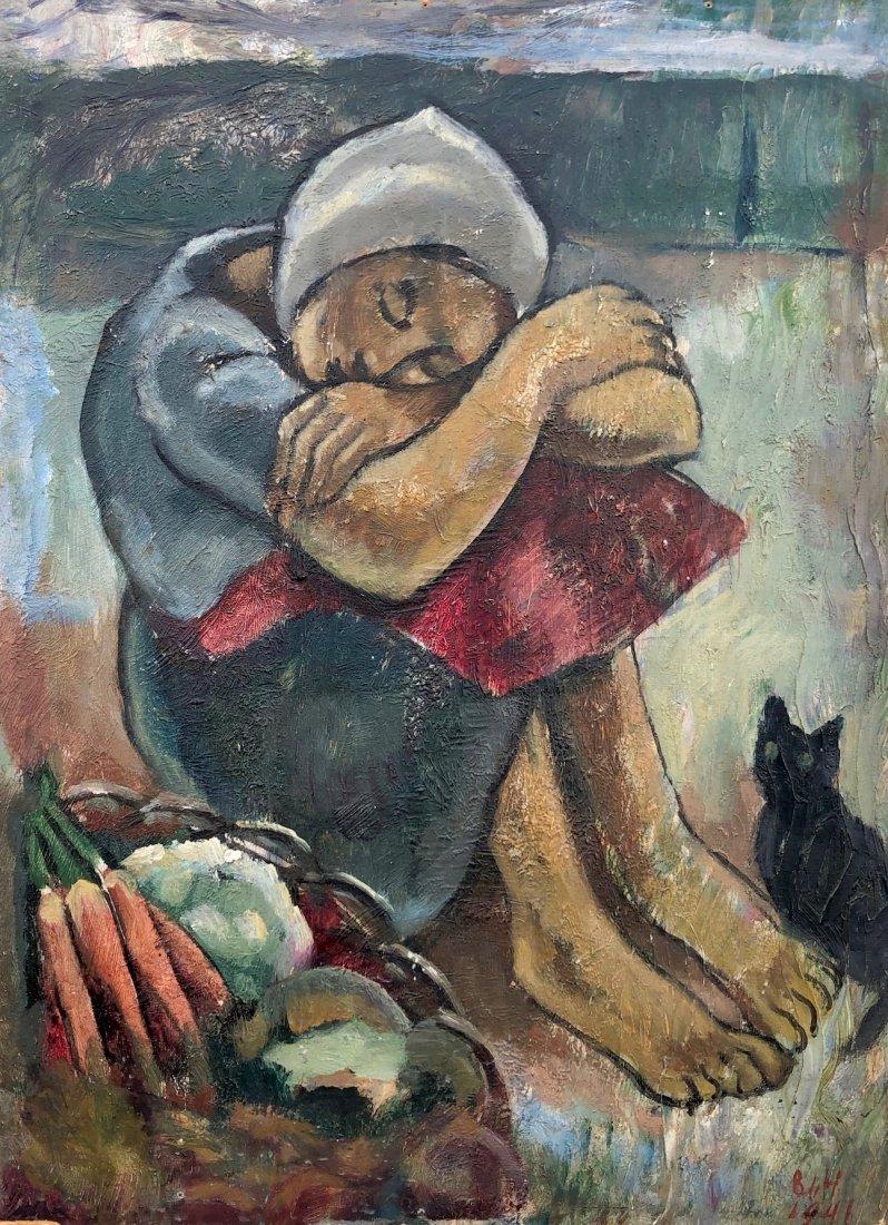 BERTHA DE HELLEBRANTH (20th c, American) Woman w/ Cat