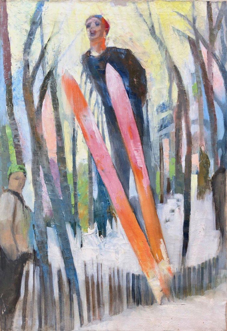 Mid-Century Modernist Ski Jumper Painting, Unsigned