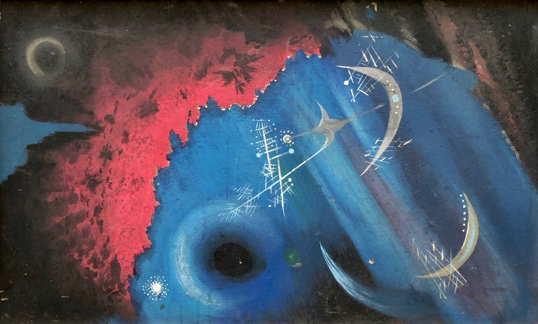 Mid-Century Modern Space Abstract Futurism Signed Weiss