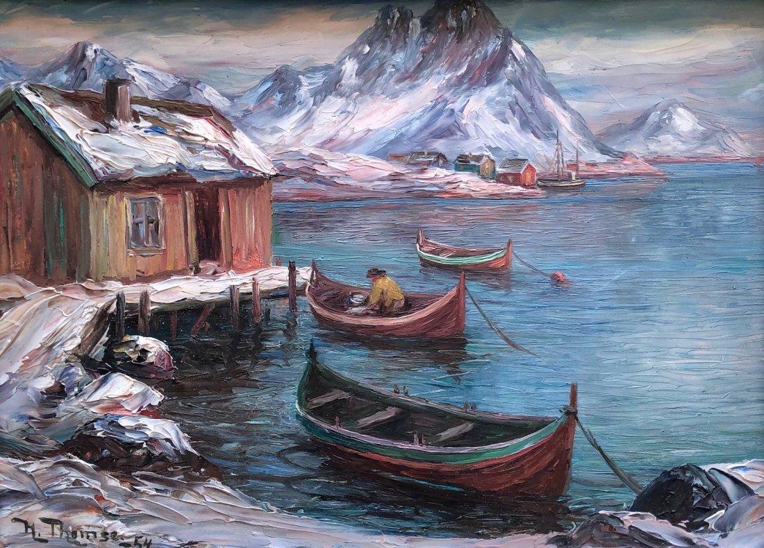 HARRY THOMSE (1903-188, Norway) Ice Fishing