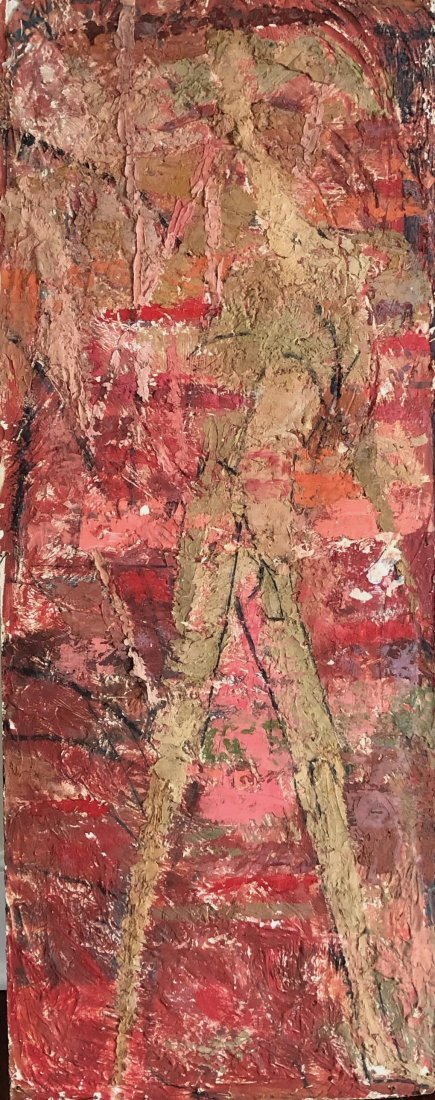 Mid-Century Modern Red & Gold Figural Abstract