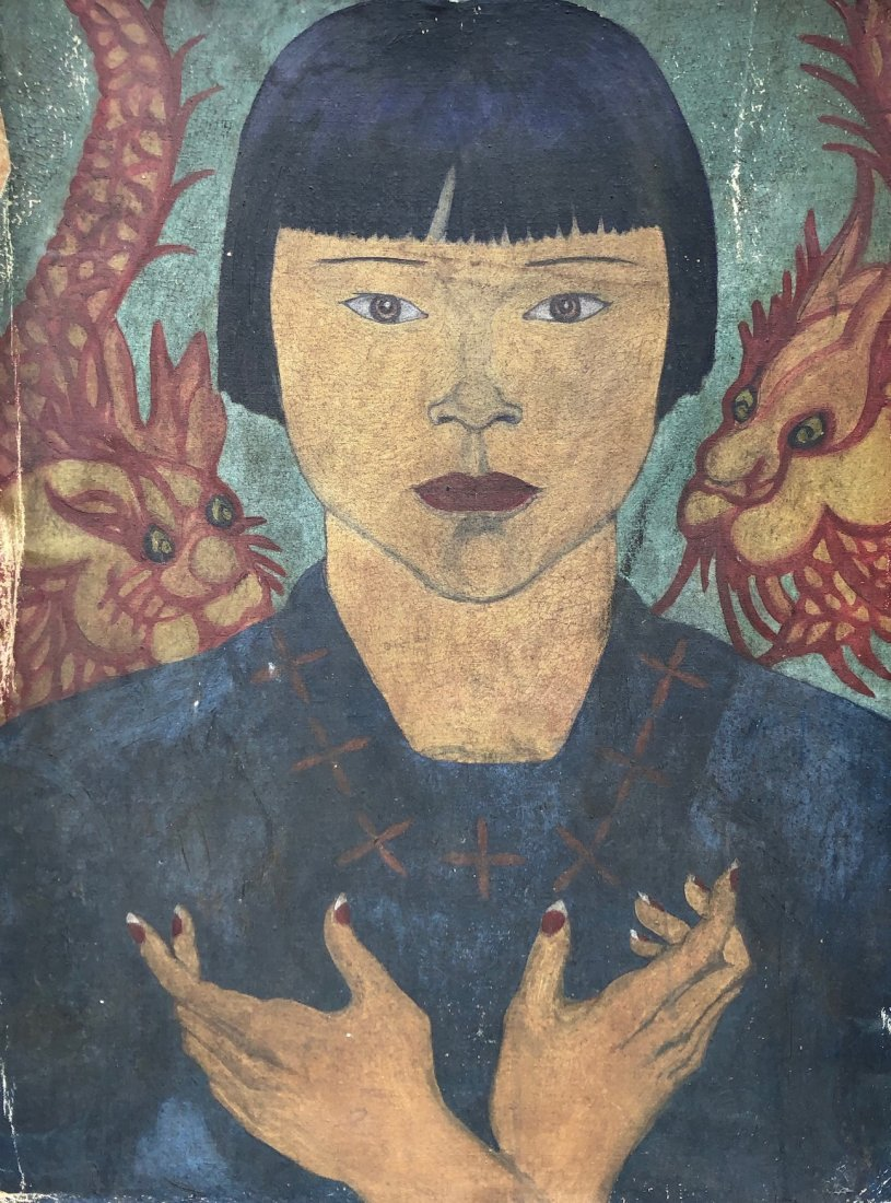 Early Modernist Chinese Portrait, Oil On Canvas