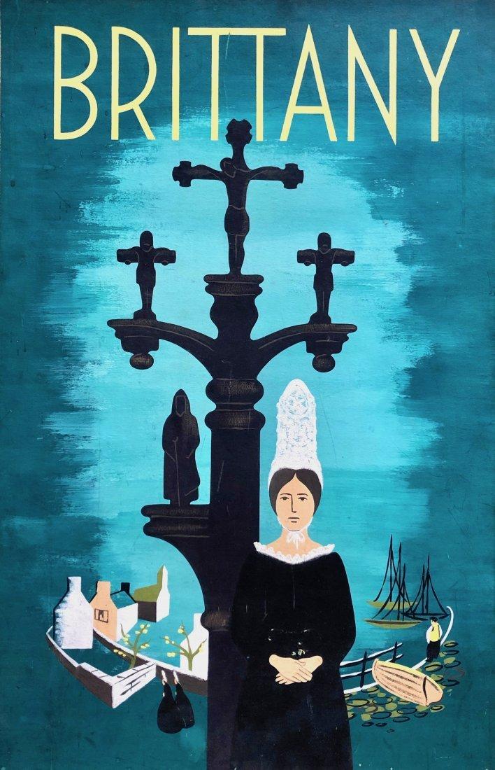 Modernist Brittany, France Illustration Signed Verso