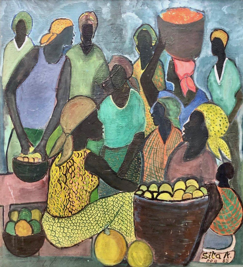 Modernist Haitian Market Scene Painting, Signed