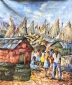 WESNER PIERRE-LOUIS (b. 1948, Haiti) Village Scene