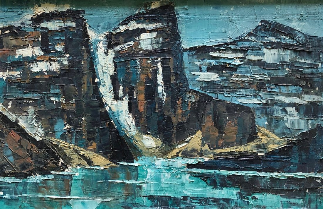 Canadian Modernist Painting Of Glaciers, Unsigned