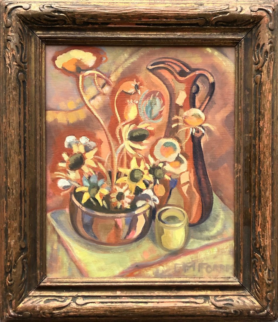 E.M FORBES (20th c, Canada) Modernist Flowers
