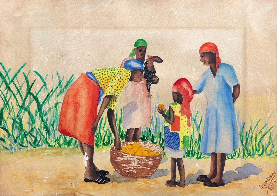 ROGER DUPOUX (20th c, Haiti) Village Scene