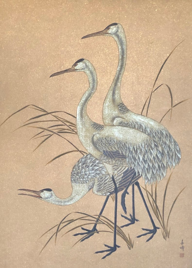 20th Century Oriental Painting Of Crane, Signed