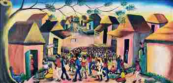 Large Mid-Century Naive Haitian Painting Signed Andre