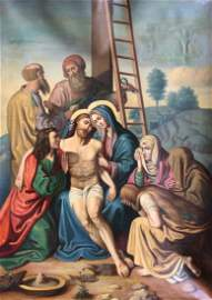 Earl 19th Century Jesus Christ Crucifixion Scene Signed