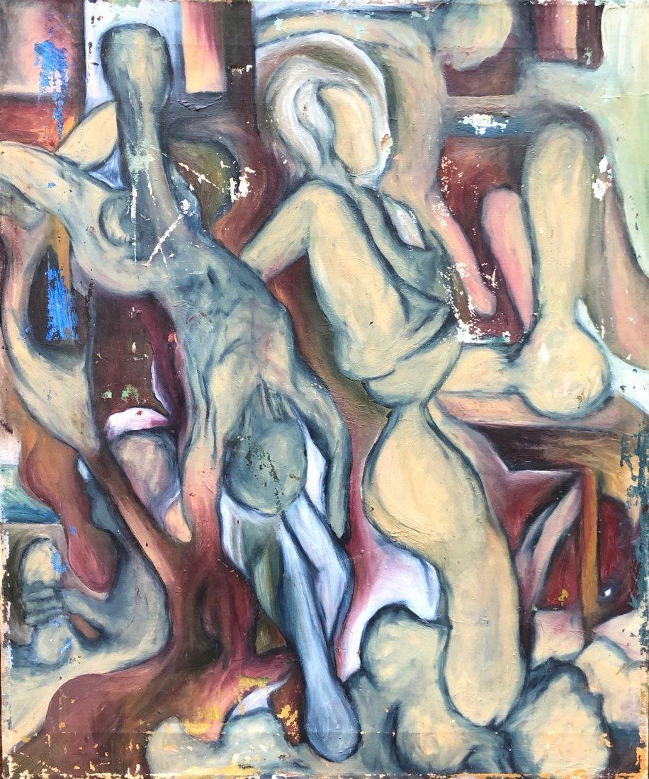 Mid-Century Modern Figural Abstract, Unknown Artist