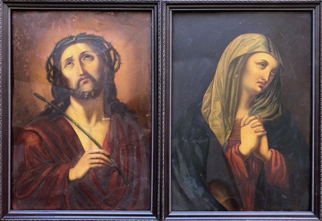 Pair Of Antique Religious Paintings On Tin